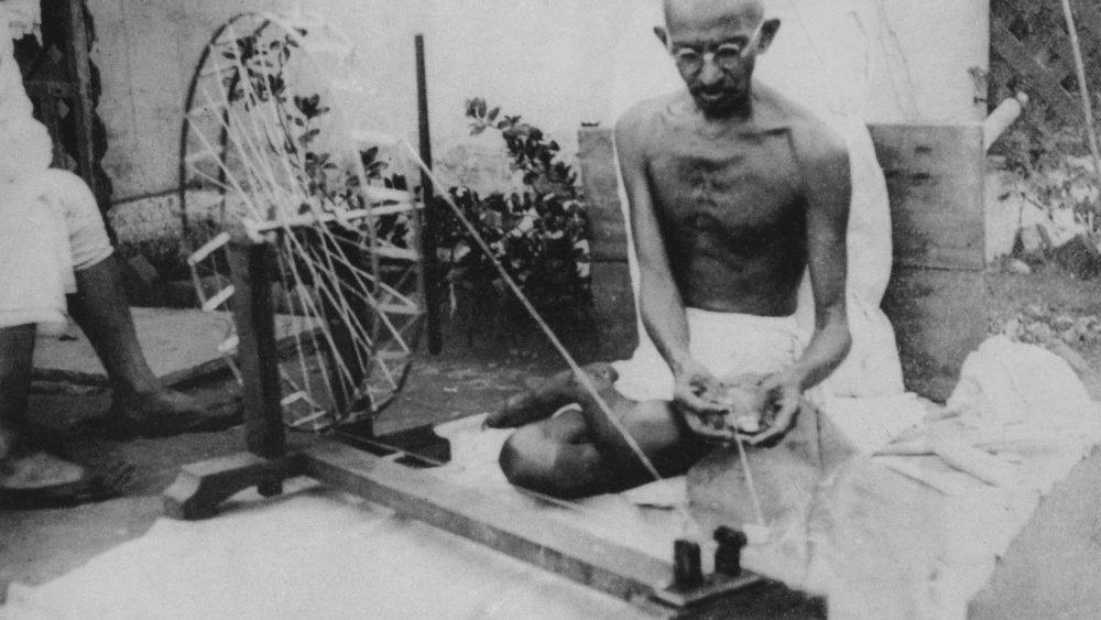 Gandhi spinning Khadi